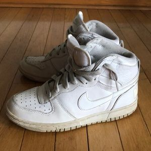 All White Nike High-Tops